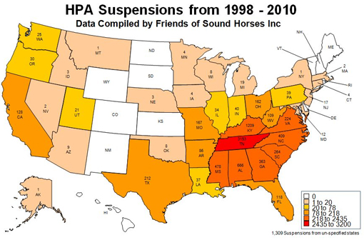 Map charting 4,000 incidences of soring violations by state since 2002